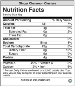 nutrition facts clusters breakfast cereal