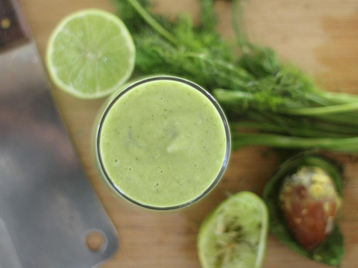 Recipe - Avocado Dill Lime Green Smoothie raw vegan paleo